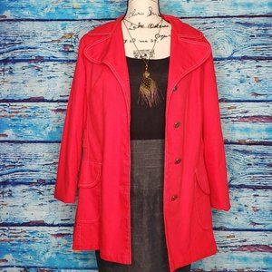 🤟 JCPenney Apple Red Button Down Jacket Size 14